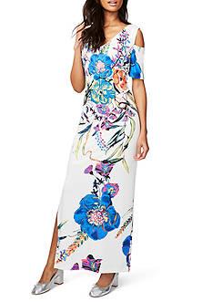 RACHEL Rachel Roy Floral Printed Cold Shoulder Maxi Dress