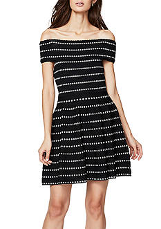 RACHEL Rachel Roy Dot Stripe Off the Shoulder Dress