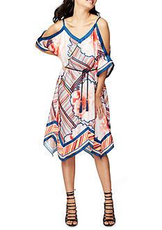 RACHEL Rachel Roy Cold-Shoulder Scarf Print Dress