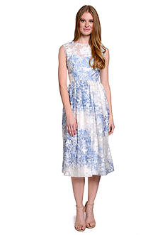 ECI New York Sleeveless Fit And Flare Floral Burnout Midi Dress