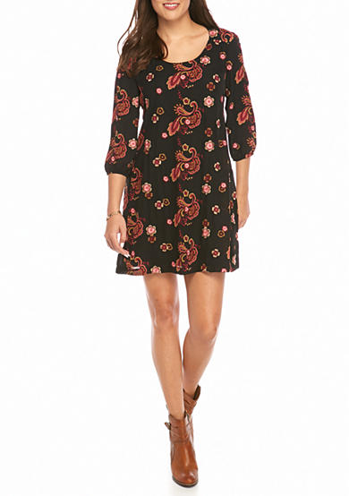 ECI New York Floral Paisley Shift Dress