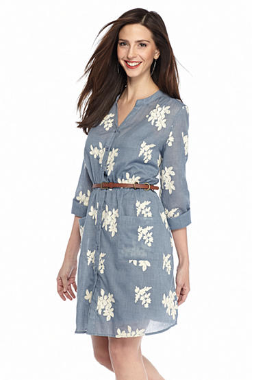 Beige by eci embroidered chambray belted shirt dress belk for Belted chambray shirt dress