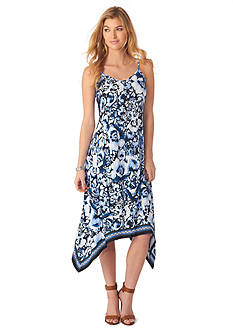 Beige by ECI Blue Printed Hanky Hem Dress