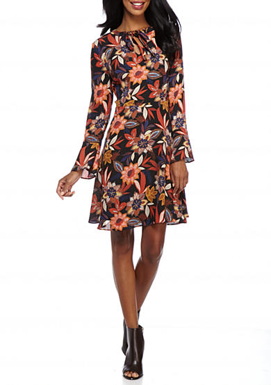 Beige by ECI Floral Printed Tie-Neck Dress