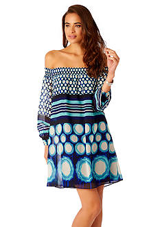 ECI New York Off the Shoulder Printed Dress