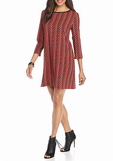 Beige by ECI Zigzag Printed Trapeze Dress with Faux Leather Trim