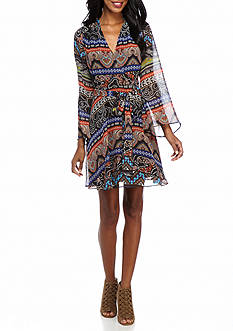 Beige by ECI Printed Chiffon Wrap Dress