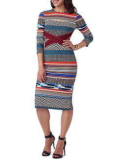Beige by ECI Printed Midi Scuba Dress