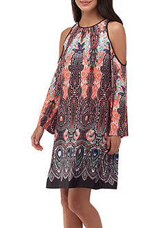 Beige by ECI Cold Shoulder Printed Dress