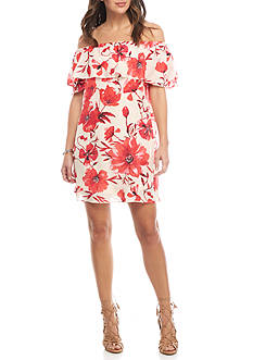 LABEL by five twelve Off the Shoulder Floral Printed Swing Dress