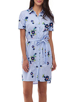 Beige by ECI Embroidered Shirt Dress