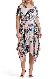 Beige by ECI Plus Size Printed Sharkbite Hem Dress