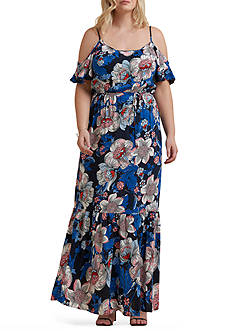 Beige by ECI Plus Size Cold Shoulder Printed Maxi Dress