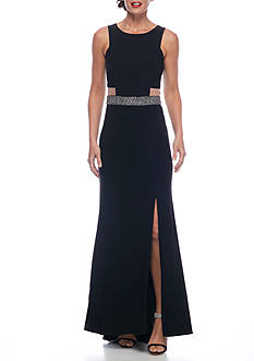 SCARLETT Bead Embellished Waistline Jersey Gown