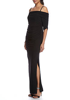 SCARLETT Ruched Cold Shoulder Gown