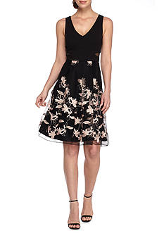 SCARLETT Embroidered Mesh Cocktail Dress