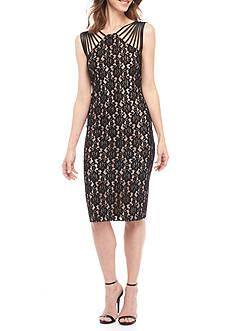 SCARLETT Strappy Shoulder Metallic Lace Sheath Dress