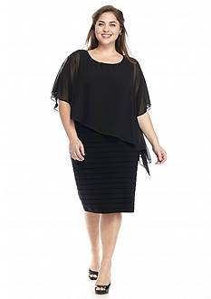 SCARLETT Plus Size Shutter Sheath Dress with Capelet