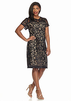 SCARLETT Plus Size Sequin and Lace Sheath Dress