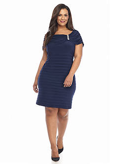Chelsea Suite Plus Size Drape Shoulder Sheath Dress