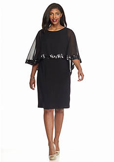 SCARLETT Plus Size Capelet Overlay Sheath Dress