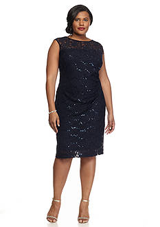 SCARLETT Plus Size Lace and Sequin Sheath Dress