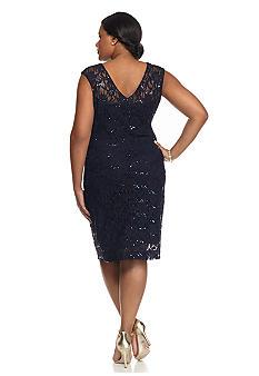 SCARLETT Plus Size Lace and Sequin Sheath Dress - Belk.com