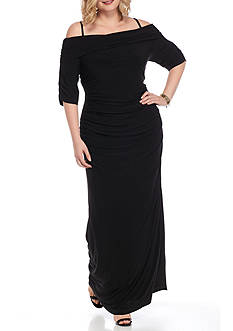 SCARLETT Plus Size Ruched Cold Shoulder Gown