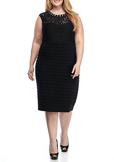 SCARLETT Plus Size Bead Embellished Neckline Sheath Dress
