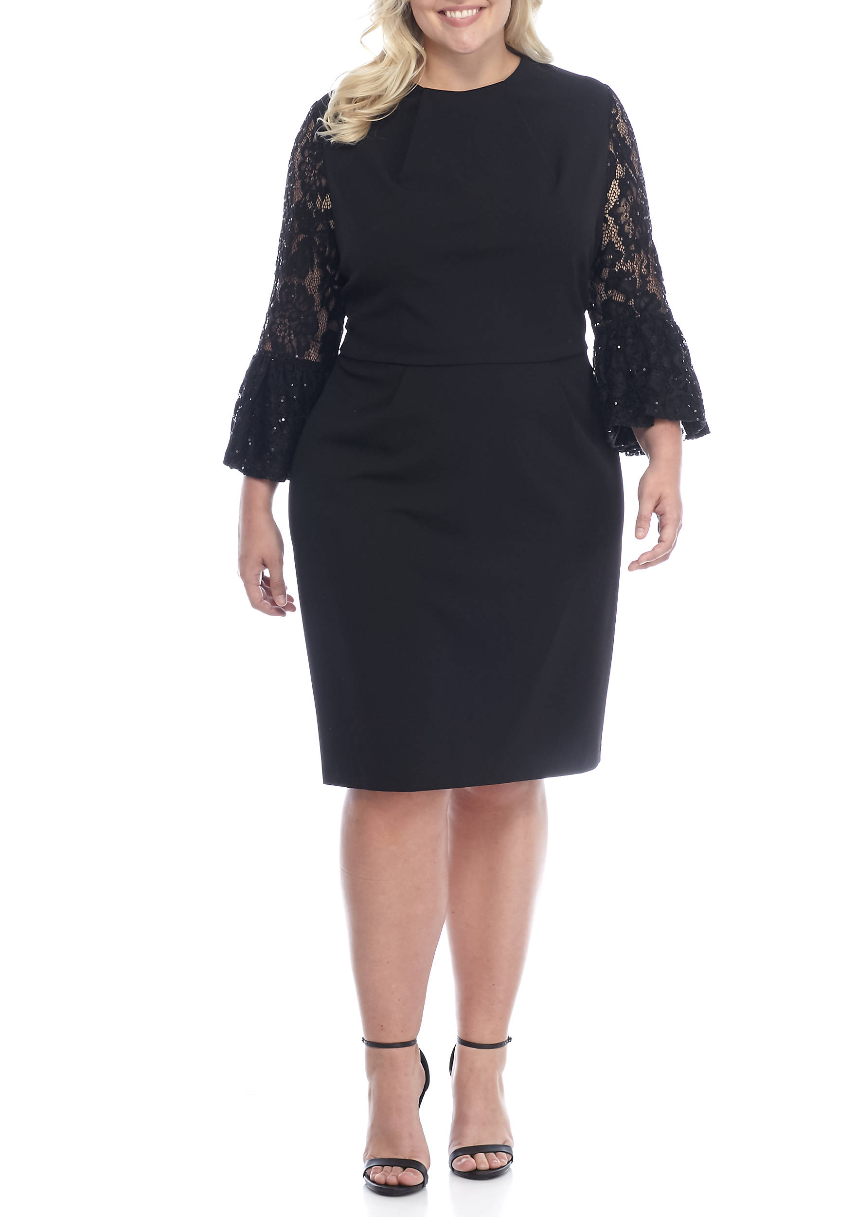 Wedding guest dresses belk plus size lace and sequin bell sleeve crepe sheath dress ombrellifo Gallery
