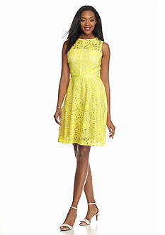 Donna Ricco New York Floral Lace Fit and Flare Dress