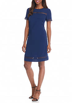 Donna Ricco New York Crochet Trim Shift Dress