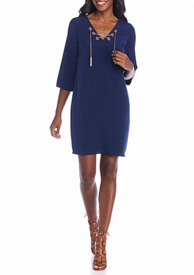 Donna Ricco New York Lace-Up Front Shift Dress