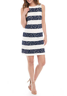 Donna Ricco New York Striped Lace Shift Dress