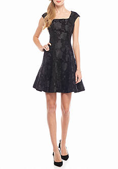 Donna Ricco New York Floral Jacquard Fit and Flare Dress