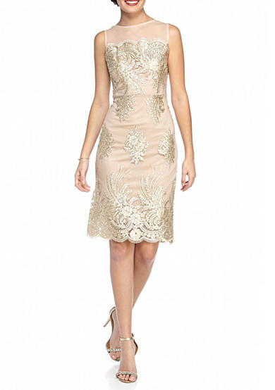 Donna Ricco New York Embroidered Mesh Sheath Dress