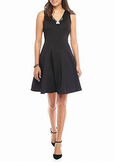 Donna Ricco New York Bead Embellished Fit and Flare Dress