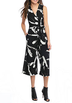 Donna Ricco New York Printed Cropped Jumpsuit