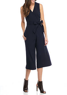 Donna Ricco New York Solid Cropped Jumpsuit