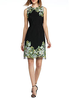 Donna Ricco New York Floral Embroidered Trim Sheath Dress
