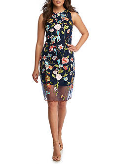 Donna Ricco New York Sleeveless Embroidered Floral Lace Dress