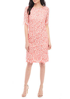Donna Ricco New York Floral Lace Midi Sheath Dress with Fringe