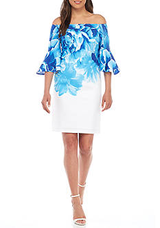 Donna Ricco New York Off-the-Shoulder Floral Printed Shift Dress