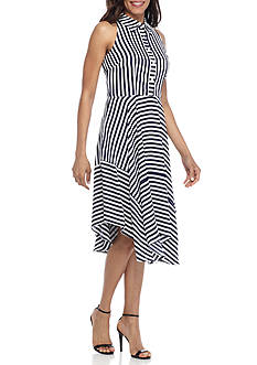 Donna Ricco New York Stripe Fit-and-Flare Dress