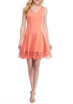Donna Ricco New York Fit-and-Flare Lace Hem Dress