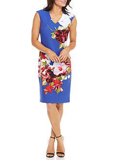 Donna Ricco New York Cap Sleeve Floral Sheath Dress