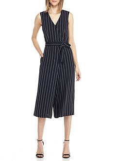 Donna Ricco New York Pinstripe Culotte Jumpsuit