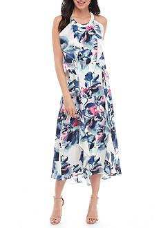 Donna Ricco New York Sleeveless Waterfall Ruffle Chiffon Dress