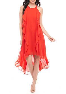 Donna Ricco New York Ruffle High-Low Hem Halter Dress