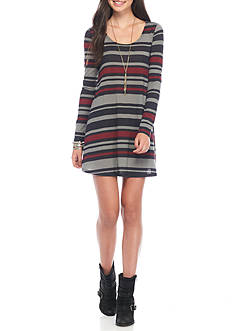 Golden Touch Long Sleeve Striped Knit Dress
